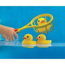 This set of three adorable Tolo ducklings comes with a fishing net for bathtime fun! Each vanilla-scented duck is three inches long.