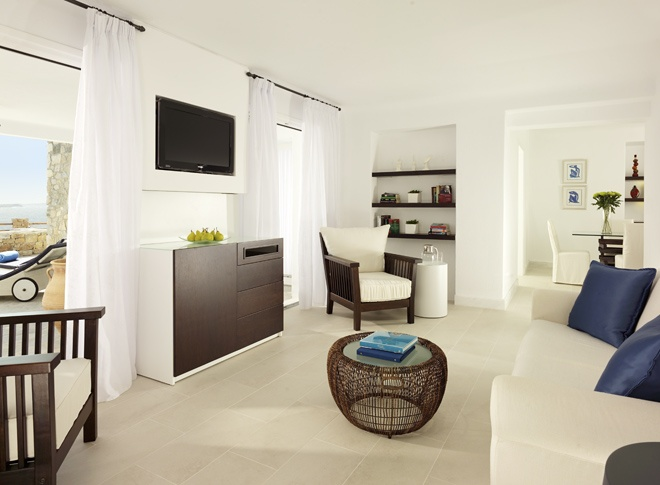 Mykonos Grand Suite: A living room of one of suites.