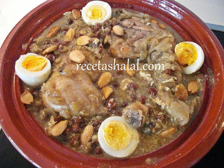 Tajin de pollo con cebolla y pasas