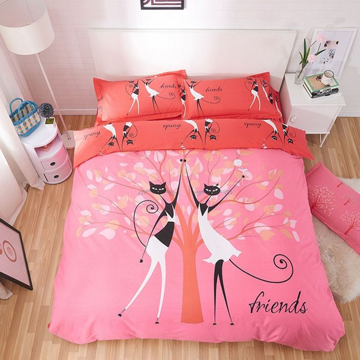 100% Cotton Duvet Cover Set Cats Friends Bedding Set Cute Bedding Sets Girls Bedding Anime Bed Sheets Cartoon Bedding Sets for Kids Christmas Gift (Full, #2) //Price: $188.15 & FREE Shipping //     #hashtag3