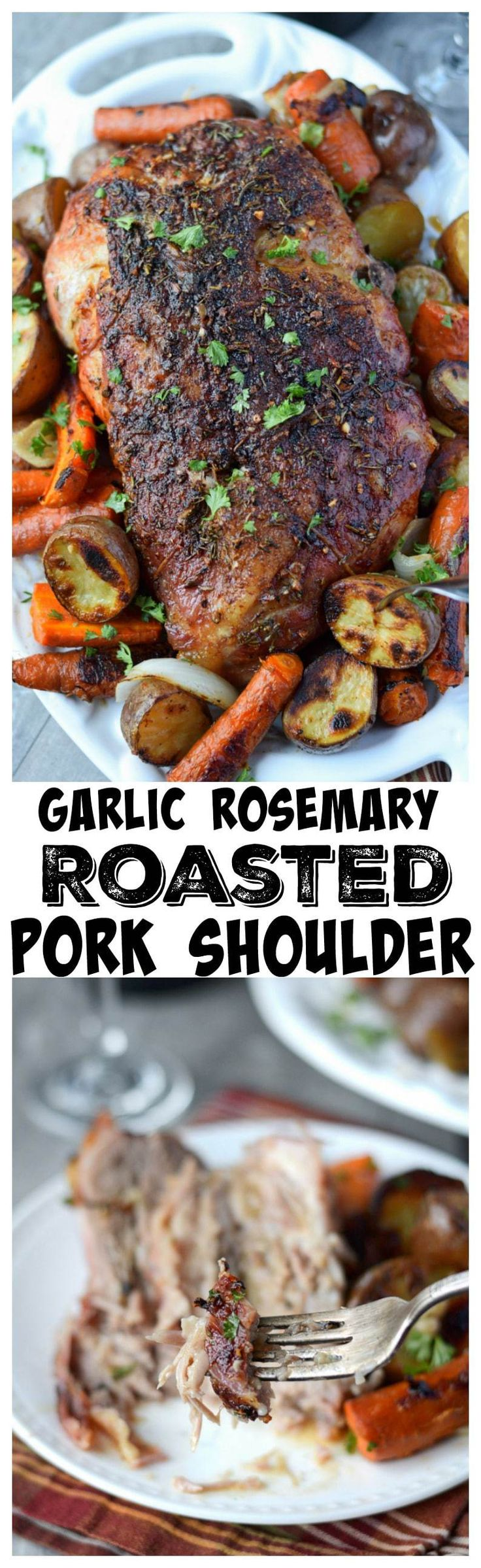 This Garlic Rosemary Roasted Pork Shoulder recipe melts in your mouth. So tender and juicy and perfect for Holiday meal or Sunday supper! #Holidays #sundaysupper #porkroast