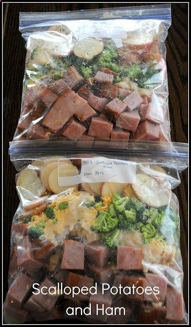 Scalloped Potatoes and Ham Crockpot Freezer Meal - 12 new potatoes and cut into inch round slices; 2 cans of cream of your choice; 2 cans of water; 2 ham steaks cubed; 8 oz cheddar cheese; 4 cups of broccoli salt and pepper Directions: Divide everything evenly into two containers. Freeze bags...when ready to eat, add to crock pot and cook on low for 8 hours.