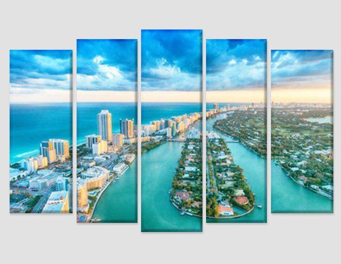 Miami Skyline Miami Wall Art Miami Canvas Print Miami Beach