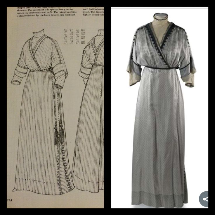 1911-2 Day dress in silver grey silk foulard with a striped print of white cigar shapes with black spots at the ends. The gilet in front is in spotted ivory net, as are the sleeve ends and cuffs. The London Museum. Patterns of Fashion 2 page 60
