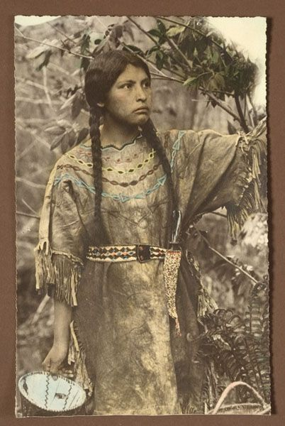 Chippewa Woman's Beaded Hide Dress with Hand-Tinted Photograph, - Cowan's Auctions: