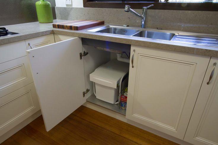 Traditional kitchen with under sink pull-out bin. www.thekitchendesigncentre.com.au @thekitchen_designcentre