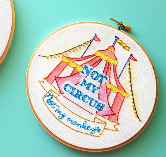 Embroidery PatternNot My CircusNot My MonkeysInstant (affiliate)