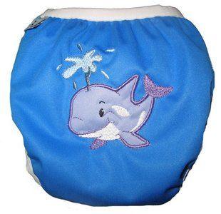 Zwemluier van het merk Monkey Doodlez. Kleur is blauw met een lieve #walvis applicatie.  #baby #zwemluier