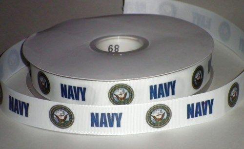 Retirement party!!!  7/8 inch Custom US Navy Satin or Grosgrain Ribbon | jlribbongear - Handmade Supplies on ArtFire
