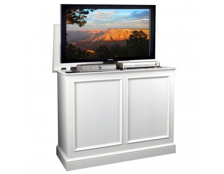 Carousel White TV Lift Cabinet by TVLiftCabinet.com