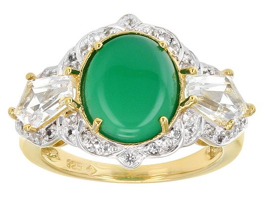 2.79ct Oval Green Onyx,2.04ctw Kite and Round White Topaz 18k Gold Ove