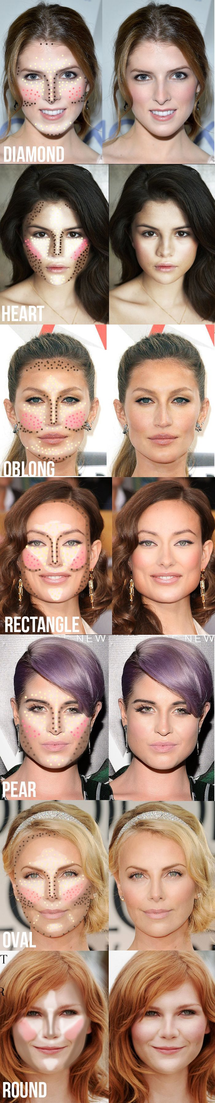 Highlighting and contouring guide for your face shape! It really makes a difference! #contour #highlight #blush #makeup #tips #tricks #beauty #DIY #doityourself #tutorial #stepbystep #howto #practical #guide #contouring