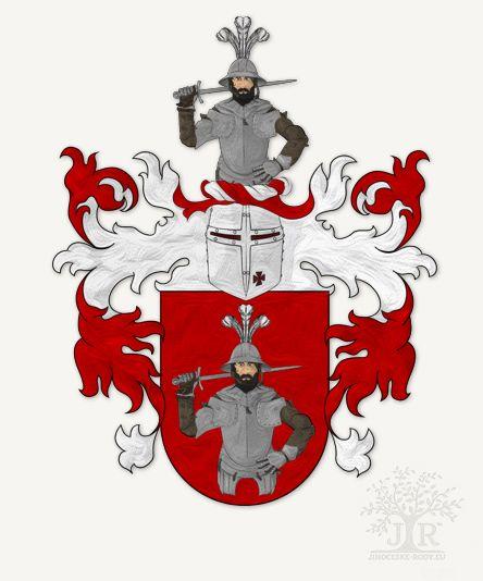 Erb rodu Pouzarů z Michnic na Žumberku © Genealogie Jihočeské rody 2016