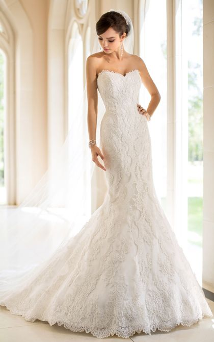 Stella York Style 5840.  This Lace over Dolce Satin lace wedding dress features a lovely sweetheart neckline and trumpet silhouette. #SoStella #WeddingDress
