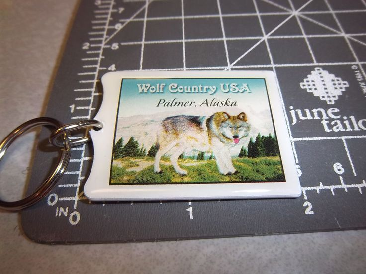 Alaska metal Keychain Wolf Country USA in Palmer Alaska (now out of business)  #wolf #palmer #alaska #keychain #souvenir #wayupinalaska