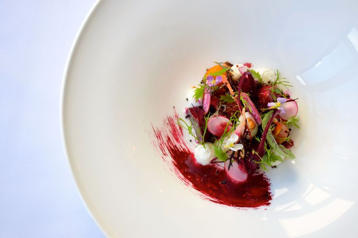 Beetroot and Goat Curd Salad!!! Roasted and Pickled Beetroot, Goat Curd, Walnuts and Mizuna. Simply stunning...Who needs meat when vegetables can taste and look this good.