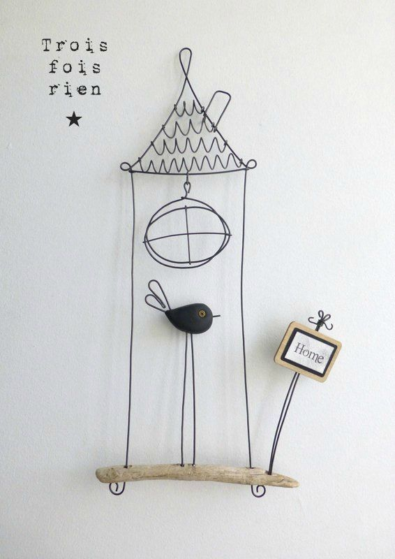 piou fil de fer n 389 oiseau cage fil de fer fil de fer wire fil de fer pinterest fil. Black Bedroom Furniture Sets. Home Design Ideas