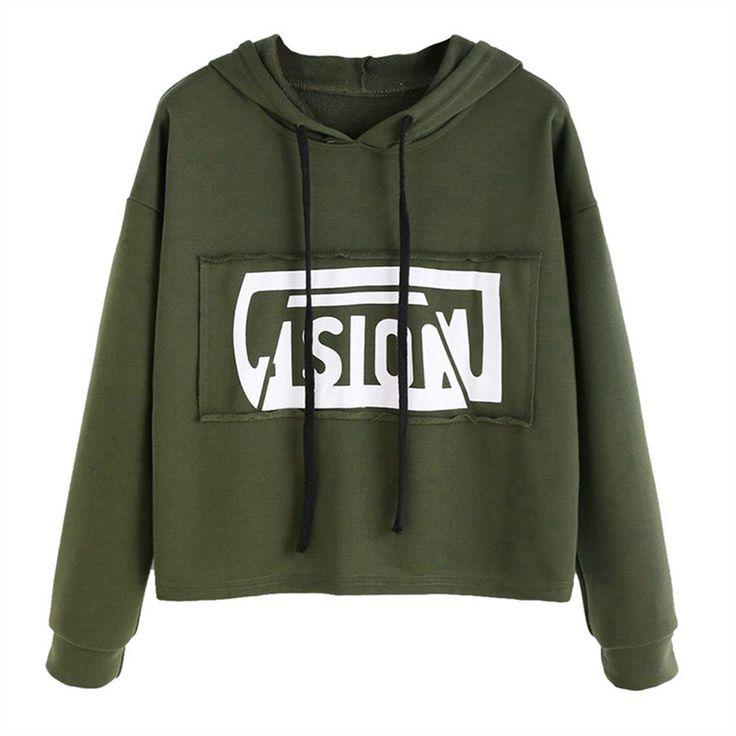 Women Hoodies 2017 New Autumn Winter Hooded Sweatshirt Harajuku Vision Letter Print Crop Hoddies Pullover Tracksuits Streetwear #Affiliate