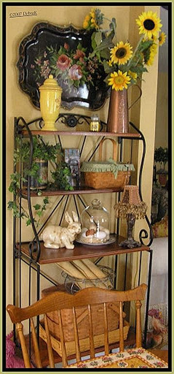 "Repaint my grandmother's bakers rack to have this look (black wrought iron).  Will use as my ""Coffee bar"""