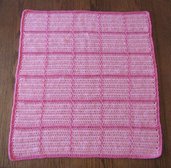 Hecha a mano color rosa bebé ganchillo manta afgana