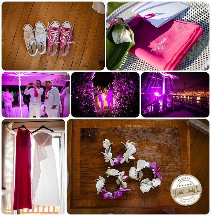 White + Magenta + Magenta lights, a cool modern theme for a wedding. Ph Morlotti Studio http://www.brideinitaly.com/2013/10/morlotti-total-white.html #italianstyle