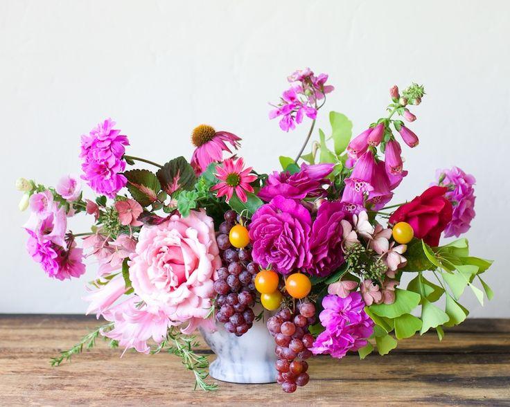 Impromptu  Kiana Underwood   Tulipina garden rose, hydrangea, naked lady, geranium, foxglove, cone flower, rosemary, cherry tomato, grape, ginko, coleus: