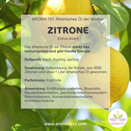 """ZITRONENÖL ist eines der beliebtesten Öle überhaupt und gilt als Inbegriff von """"Sauberkeit und Frische"""". Aber wusstest du, dass ätherisches Zitronenöl in der AROMA-APOTHEKE ein Allround-Talent ist? :-)  Es reguliert das IMMUNSYSTEM, wirkt gegen Bakterien und Viren und ist besonders gut zur RAUMLUFTDESINFEKTION geeignet. Ausserdem wirkt es NERVENBERUHIGEND und KONZENTRATIONSFÖRDERND."""