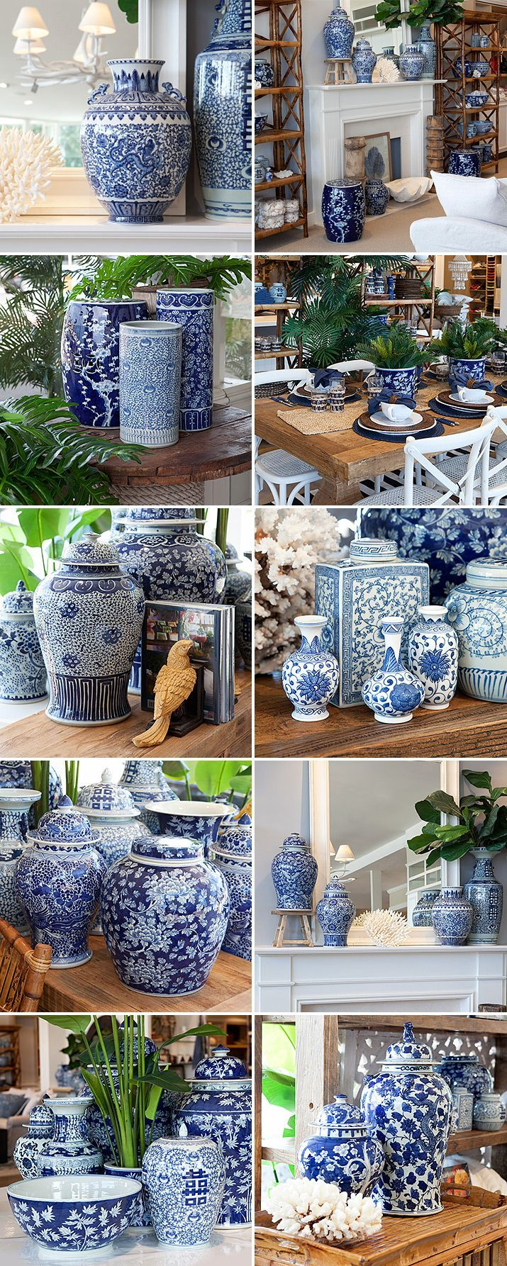 Blue and white dynasty ginger jars.