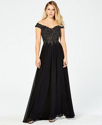 30a7fcdcda Blondie Nites Juniors  Off-Shoulder Rhinestone Gown - Dresses - Women -  Macy s