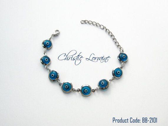 Evil Eye Beads Silver Plated Bracelet by CHRISTIELORRAINE on Etsy, $13.90