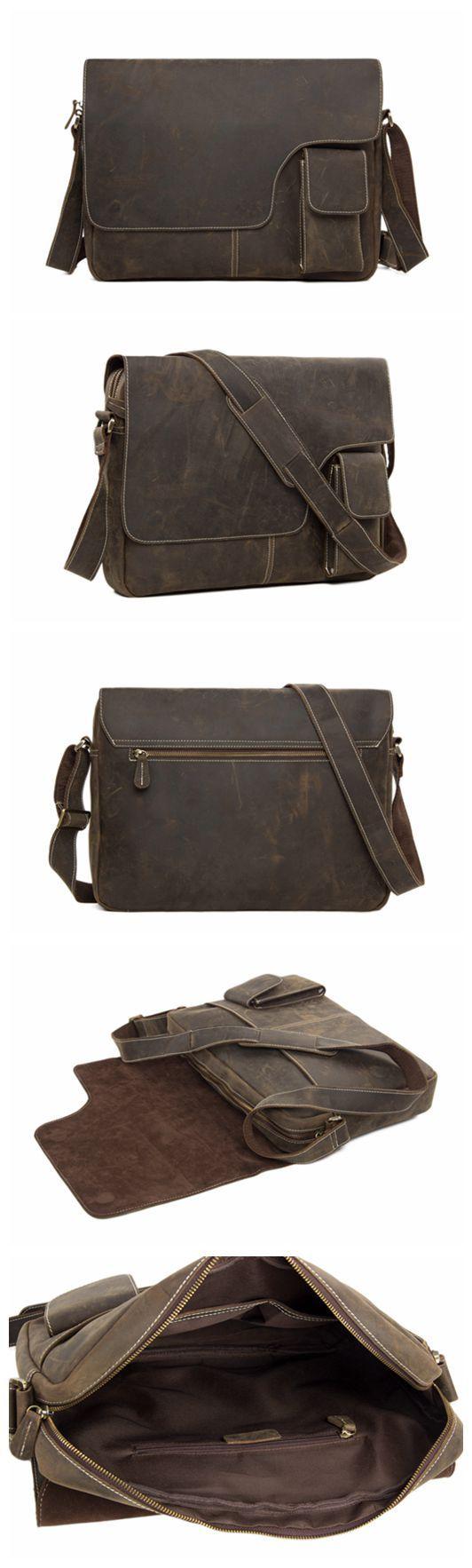 13'' Vintage Genuine Leather Messenger Bag Crossbody Bag Shoulder Bag Macbook Bag