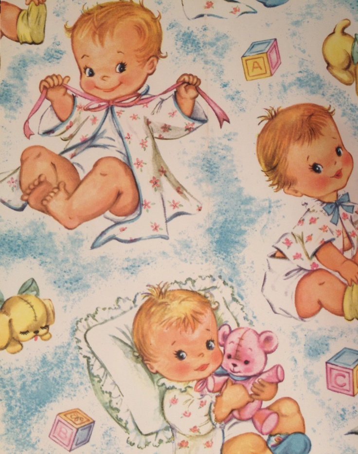 vintage baby shower wrapping paper  paper fabrik kids, Baby shower invitation