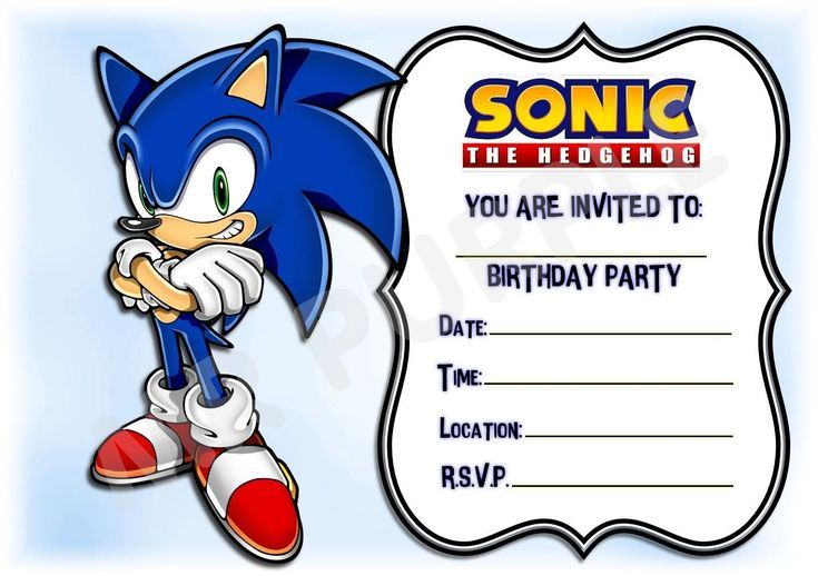 Sonic The Hedgehog Kids Childrens Party Invitations X 12 Frame Design Invites Ideeen