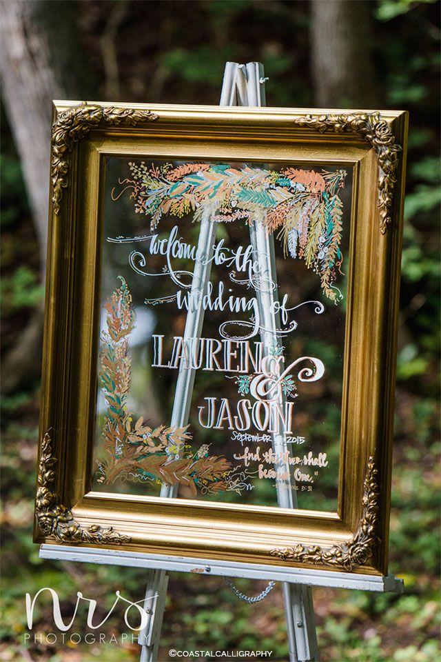 Добро пожаловать свадьба вход на обрамлении зеркала по CoastalCalligraphy на etsy | Свадебный декор и аксессуары ручной работы для свадьбы осенью