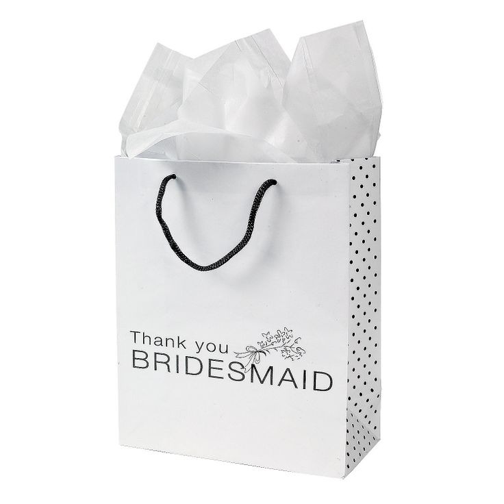 """Bridesmaids Gift Bags - Bridesmaids Gift Bags. These simple yet elegant! Bridesmaids Gift Bags are perfect for thank you gifts and treats for the special ladies in your wedding party. Each white bag features a bouquet printed above the words, """"Thank you Bridesmaid"""" with a black dot pattern on the side and black handle. Paper. 7.5"""" x 3.5"""" x 9"""" OrientalTrading.com 12/$7.00"""