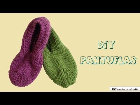 ▶ Cómo tejer pantuflas en dos agujas para principiantes - YouTube