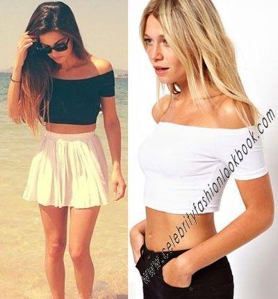 Off Shoulder Crop Tee - Teen clothing -CropTops - Clothing US$13.86 #fashion #top #croptop #teen #teenfashion #girlfashion #streetfashion #streetwear