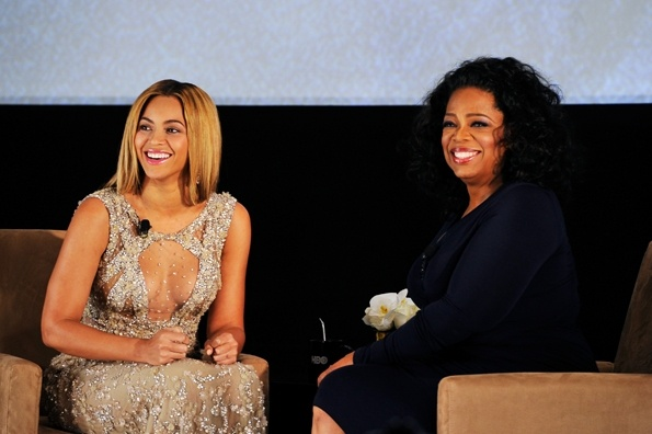 """Beyonce and Oprah Winfrey speak onstage at the premiere of theHBO Documentary Film""""Beyonce: Life Is But A Dream."""""""