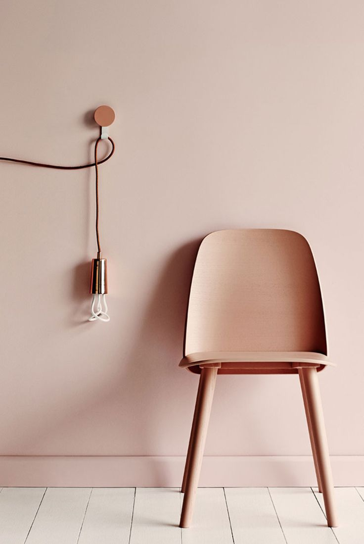 Farrrow & Ball Middleton pink. Love the mix of the colour on the wall and the copper of the bulb