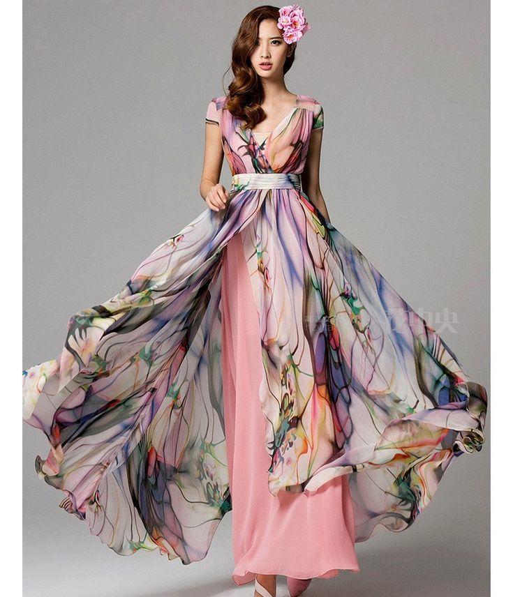 2014 spring new women's V-neck gauze pink print long dress high waist women's floor-length chiffon dress plus size maxi dress