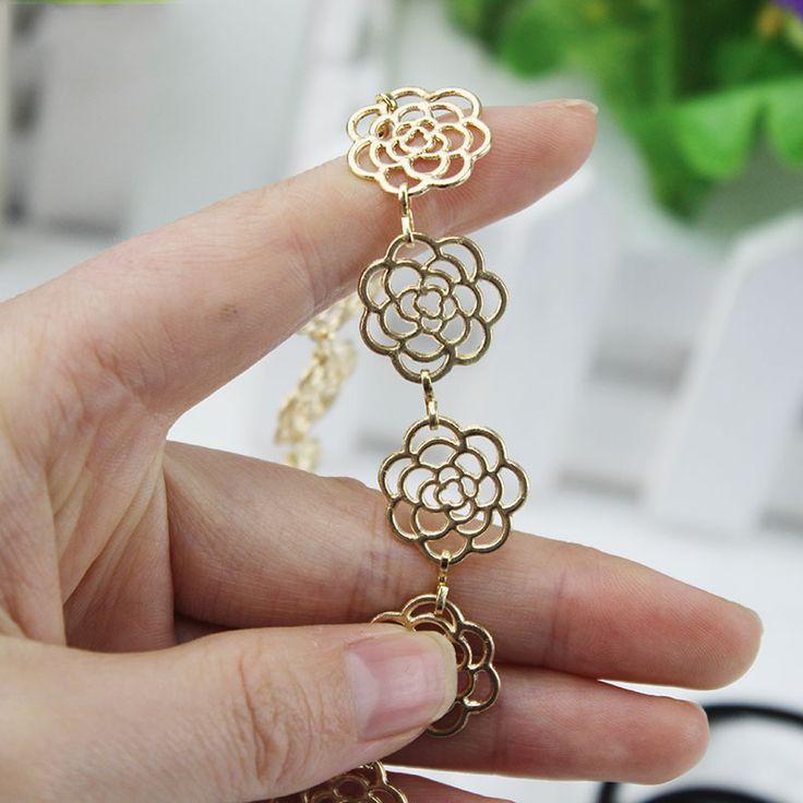2 pcs Womens Mode Logam Rantai Perhiasan Berongga Rose Flower Elastis Rambut Band Headband Perhiasan