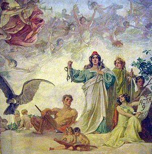 Alegoría de la Declaración de la independencia Argentina, por Luis de Servi. Pintura sobre tela en el techo del Salón Blanco de la Casa Rosada.