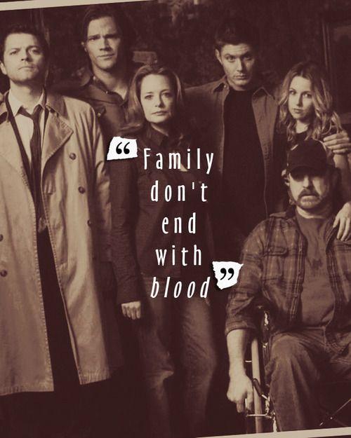 "Sam, Dean, Castiel, Bobby, Ellen and Jo ~ Supernatural ""Family don't end with blood."""