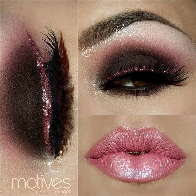 Smokey eye in pink with glitter lining top lashe... Great for Valentine 's Day