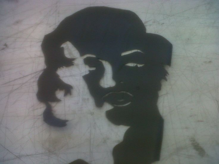Marilyn Monroe stencil I cut out by using a high contrast picture.