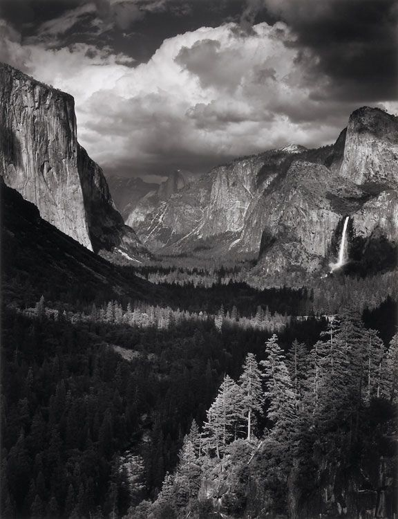 Thunderstorm yosemite valley by ansel adams 1945 the depth of the photo gives the feeling of grandeur making the viewer seem like a small spec in