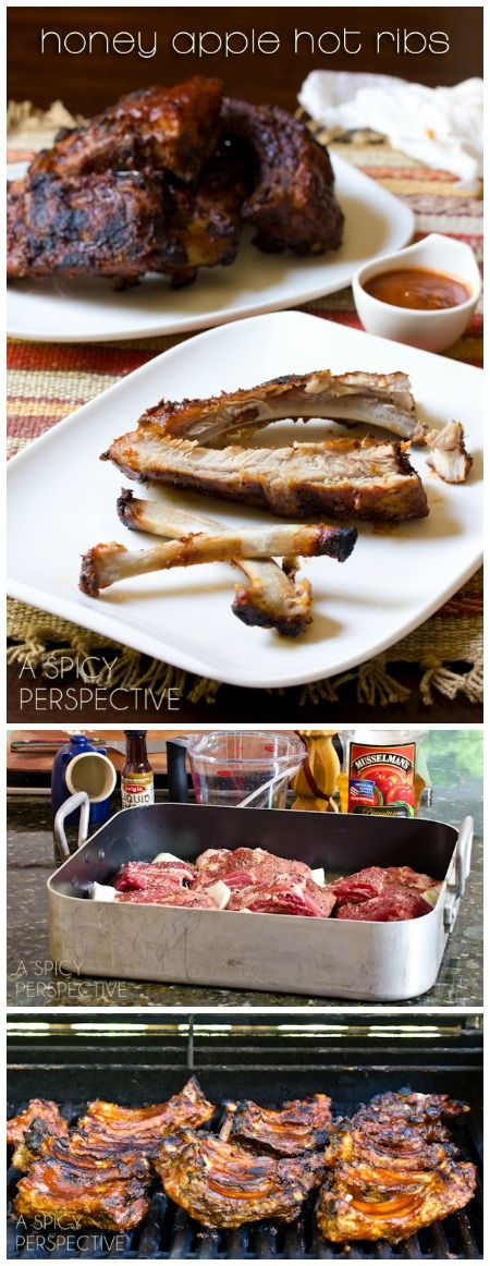 Babyback Ribs with Honey Apple Buffalo Sauce Recipe _ Pour apple juice & liquid smoke over ribs & add onions & garlic. The combination of the sweet apple flavor & pungent onions & garlic, gives the ribs deep complexity!