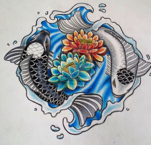 Yin yang koi fish lotus flower back piece tattoo tattoos for Koi fish yin yang tattoo