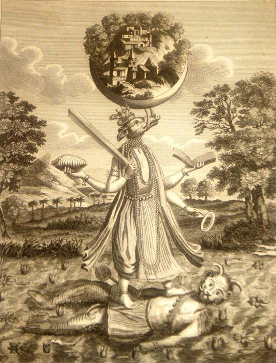 Painting of Varahadeva rescuing the earth, who is also his wife .c1790