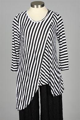 Comfy USA - Angela Tunic Plus - Black & White Stripe - Plus Size at Fawbush's